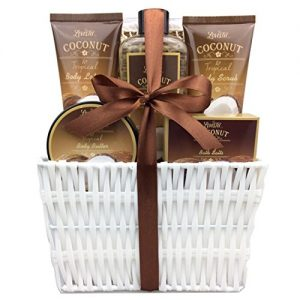 spa gift basket and bath set with refreshing coconut fragrance by lovestee