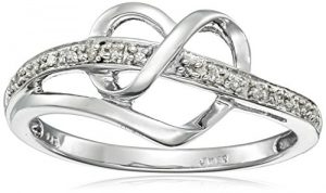 sterling silver diamond accent heart ring size 7